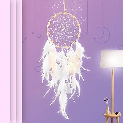 Kaycolin Traumfänger Traumfänger Kinder, mit Led Lichtern Federn Traumfänger im Böhmischen Stil, für Wandbehang Wohnkultur Ornamente Handwerk