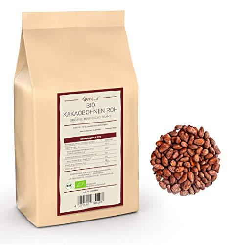 1kg de fèves de cacao Criollo BIO – aliments crus – fèves de cacao entières non torréfiées, végétaliennes et sans additifs - emballages écologiques