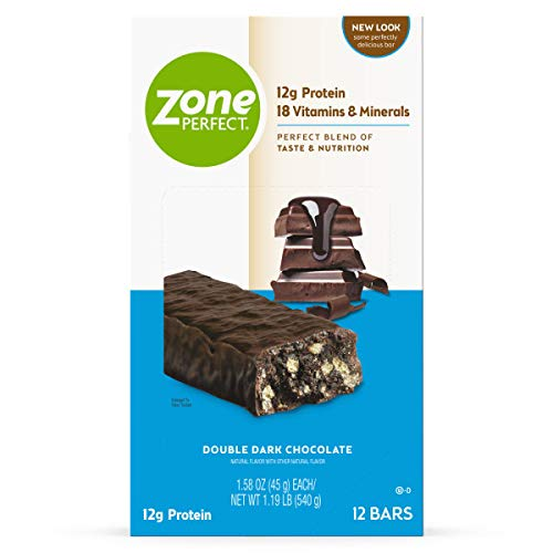 Zone PERFECT Protein Bars, Double Dark Chocolate, 12g of Protein, Nutrition Bars With Vitamins & Minerals, Great Taste Guaranteed, 36 Bars