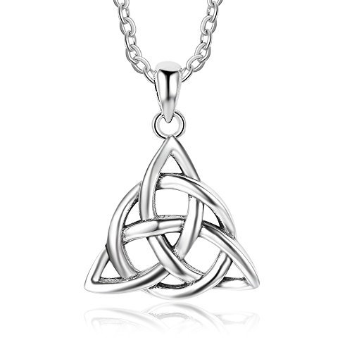 Kalapure Sterling Silver Irish Celtic Knot Triquetra Trinity Triangle Pendant Necklaces for Women Girls Birthday Gift