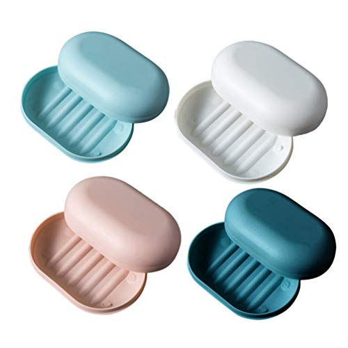 Heallily caisse de savon 4 pcs portable boîte à savon de cachetage imperméable titulaire porte-savon pour salle de bains douche voyage (4 couleurs)