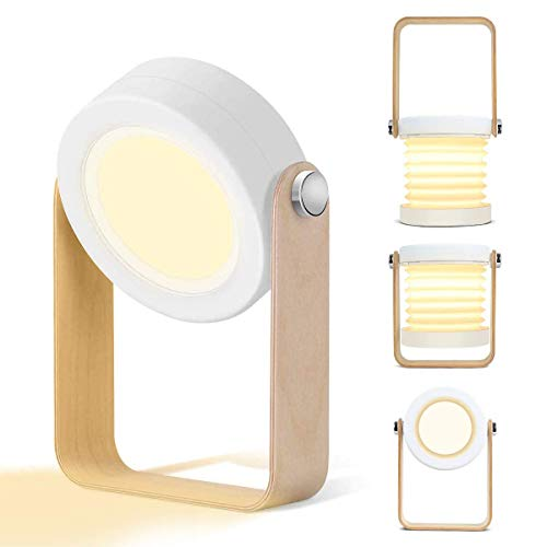 Tischlampe Led Usb-aufladung,15w Leistung Nachttischlampe Touch,360 ° Beleuchtung Tragbar Faltlaternenlicht,hölzern Griff Camping Lichter Nachtlicht Leselicht