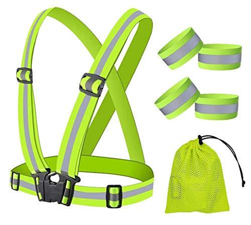 Gilet Sicurezza Riflettenti Regolabile, Ad Alta Visibilità Gilet Fluorescenza, con 4 Cinturini di Sicurezza Catarifrangenti, 1Sacchetto di Stoccaggio,