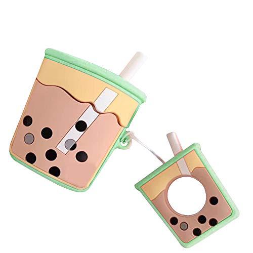 MoreChioce kompatibel mit Airpods 1 Hülle,kompatibel mit Airpods Handyhülle,Kreativ Grün Milchtee Hybrid Silikon Schutzhülle Rundumschutz Gehäuse Crystal Defender Protective Bumper