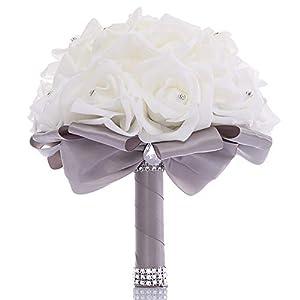 TRUE LOVE GIFT Wedding Bouquet, Bridesmaid Toss Bouquet Hand Made Artificial Rose Flowers Diamond Satin Bride Bouquets for Wedding, Engagement Valentine's Day Decor (Grey)