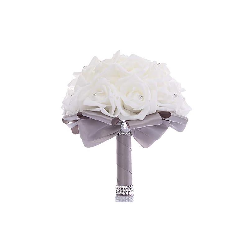 silk flower arrangements true love gift wedding bouquet, bridesmaid toss bouquet hand made artificial rose flowers diamond satin bride bouquets for wedding, engagement valentine's day decor (grey)