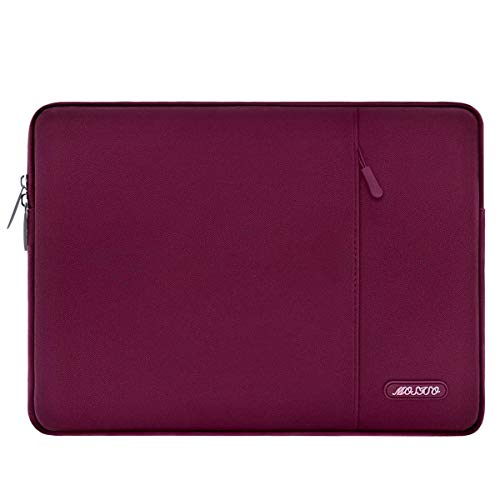 MOSISO Laptop Sleeve Hülle Kompatibel mit 15 Zoll MacBook Pro Touch Bar A1990 A1707, ThinkPad X1 Yoga, 14 Dell HP, 2019 Surface Laptop 3 15, Polyester Vertikale Stil Laptoptasche, Weinrot