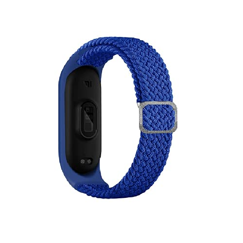 Rosok Correa de Repuesto Elástica Compatible con Xiaomi Mi Band 6 / 5, Moda Transpirable, Adecuado para Mujeres y Hombres, Correa de Tejer de Nylon para Xiaomi Mi Band 6 / 5 - Azul