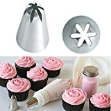 Bakery Russian Stainless Steel Pastry Tips Cupcake Cherry Blossoms Icing Piping Nozzles Ice Cream Tool Cake Decorating Baking Mold(2D)