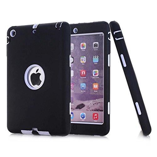 iPad Mini 2Hülle, iPad Mini 3Fall, nokea [kindgerechte Schutzhülle] Dämpfung Drei Schicht Armor Defender Full Body Schutzhülle für Apple iPad Mini 1/2/3, Schwarz/Weiß