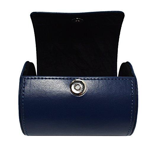 SANQIANWAN Fashionable Business PU Leder Krawatten Box 12 x 9 x 9 cm Zylinder-Form Krawattenhalter (Blau)