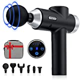 Deep Tissue Massage Gun for Athletes, Percussion Massager for Back Pain Relief, Portable Quiet Handheld Muscle Massage Gun for Men & Women with 6 Massage Heads & 9 Speed High-Intensity Vibration