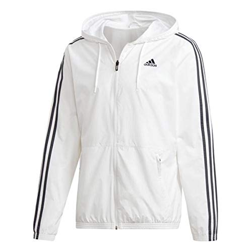 adidas Men's Essentials Wind Jacket (XX-Large, White/Grey)