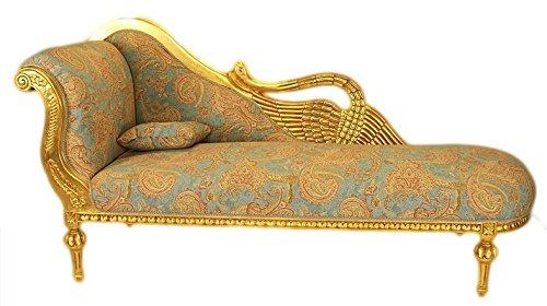 Casa Padrino Barock Chaiselongue Antik Gold-Türkis-Rot Muster/Gold - Golden Wings Qualität