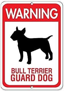 Warning Bull Terrier Gurad Dog Pet Animal Lámina de Metal Retro para Bodega de Bodega casera Tienda de decoración del hogar