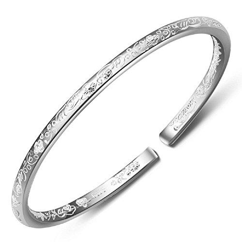 Merdia Damen S999 Sterling Silber Blume geschnitzt Manschette Armbänder Gewicht 21G für Hochzeit Geschenk