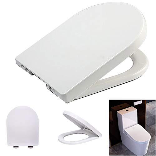 Toilettendeckel, WC Sitz mit Absenkautomatik D Form Klodeckel, Schnellverschluss & Einfache Montage, WC Deckel aus Duroplast und Rostfreie Edelstahl