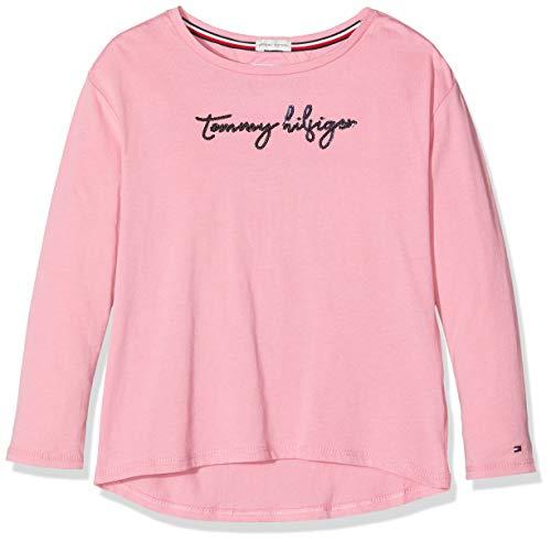 Tommy Hilfiger Mädchen Langarmshirt Sequins Graphic Tee L/S, Violett (Purple Vbb), 116 (Herstellergröße:6)