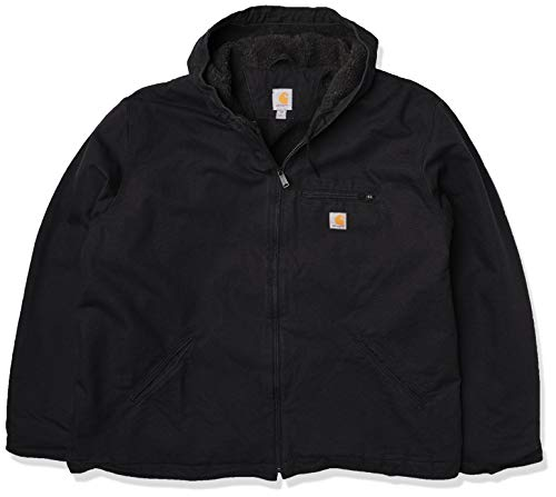 Carhartt Men's Relaxed Fit Washed Duck Sherpa-Lined Jacket, Black, MD (Reg)