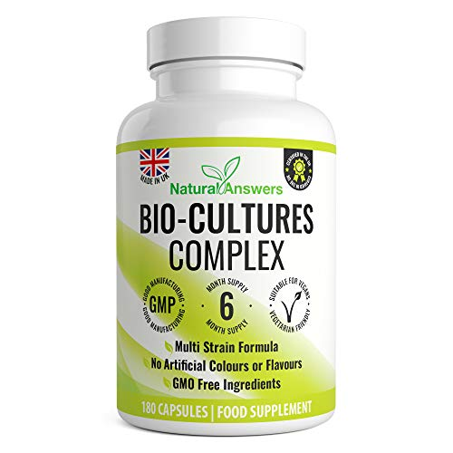 Vegan Bio Cultures Complex - 180 Capsules – 1 Billion CFU with 5 Bacteria Strains Per Serving - Max Strength & Potency Digestive Enzyme Capsules - Includes Lactobacillus Acidophilus & Bifidobacterium