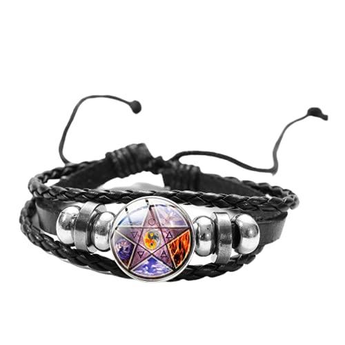Pulsera vintage de Pentagrama Pentáculo Yin Yang Pagan Wicca Runic Owl de cinco puntas de estrella de cristal a presión pulseras de cuero para mujeres y hombres