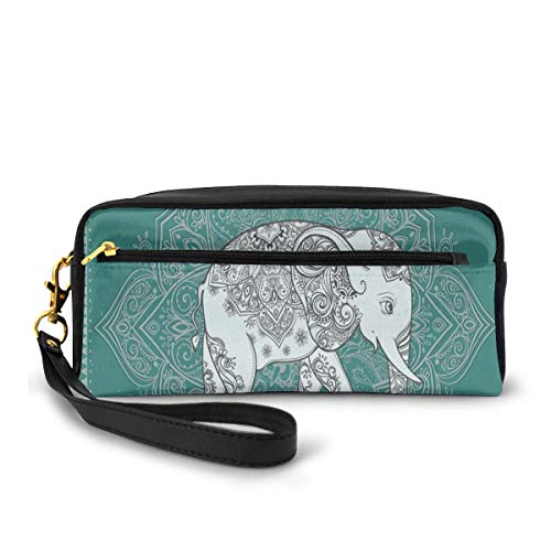 Pencil Case Pen Bag Pouch Stationary,Symbol of Mental and Physical Fortitude on Floral Frame,Small Makeup Bag Coin Purse