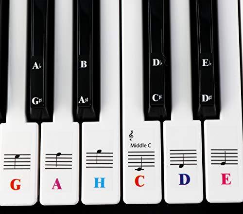 Klavieraufkleber Für Keyboards mit 61 Tasten - transparent und entfernbar mit kostenlosem, Herunterladbaren Klavier E-Book
