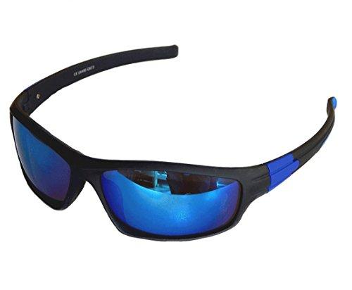Gil SSC Sportbrille Sonnenbrille Grau blau verspiegelt Fahrradbrille Snowboardbrille Motorradbrille M 16 (blau verspiegelt)