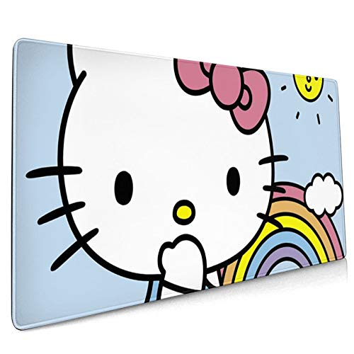 Large Gaming Mouse Pad Hello Kitty Rainbow Extended Desk Pad for Computers Thick Keyboard Mouse Mat Non-Slip Rubber Base Mousepad 35.43 X 15.75 X 0.12inch