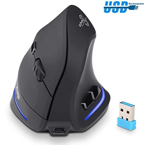 ANNA TOSANI Ratón Inalámbrico Vertical Recargable, 2.4G Muñeca Relajarse Mouse Óptico Ergonómico Inalámbrico con Receptor USB, 1000/1600/2400DPI, 6 Botones para computadora portátil, PC, Escritorio (Negro)