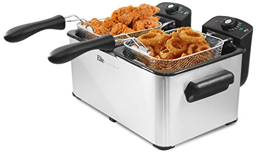 Elite Platinum EDF-3060 6 Quart Deep Fryer, Stainless Steel