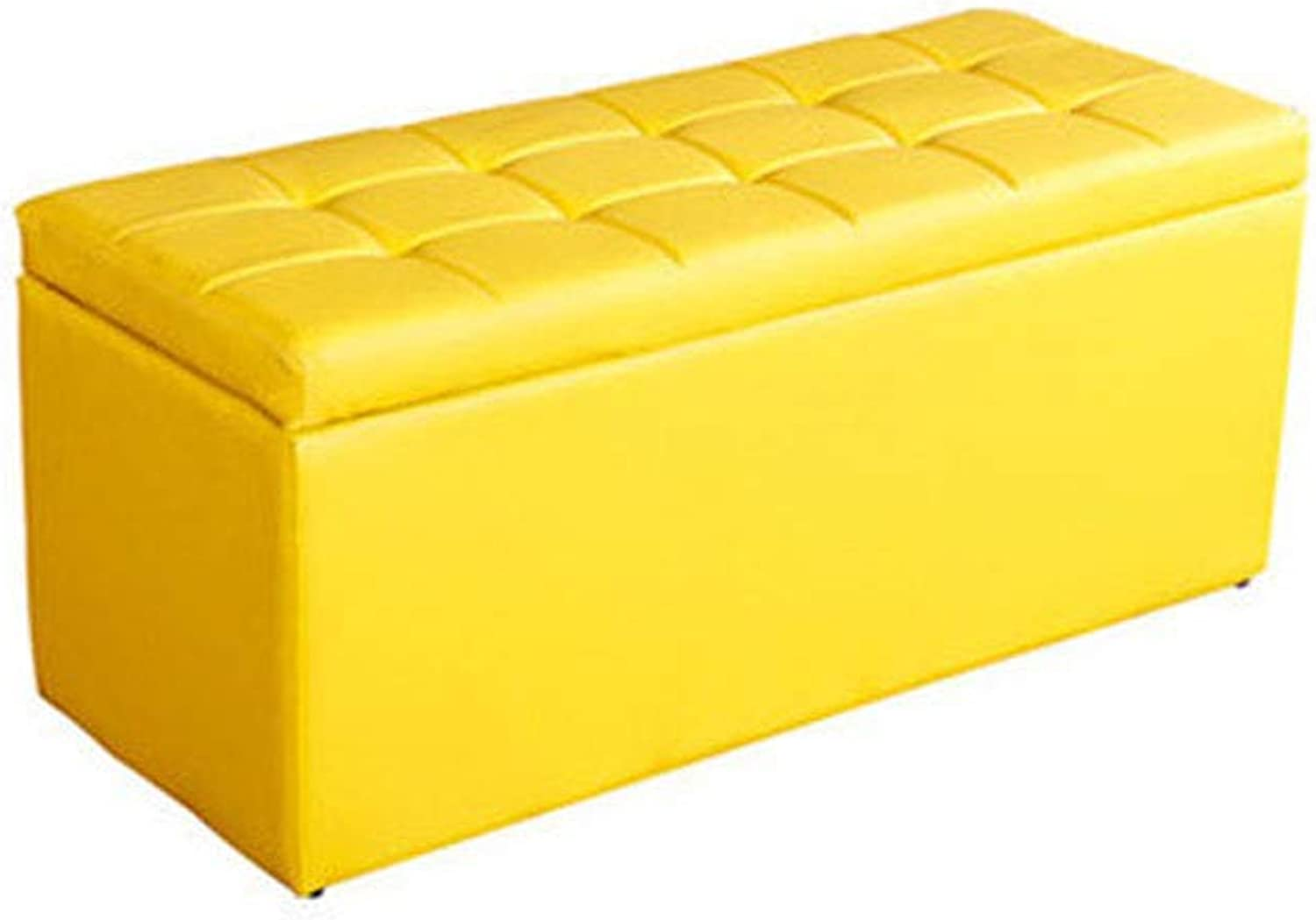 Sofa shoes Bench, Artificial Leather and Square Wooden Support Frame Multi-Function Storage Box for Commercial Clothing Store, shoes Store (color   Yellow, Size   60  40  40cm)