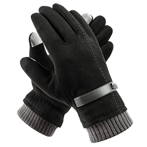 Acdyion Herren Winter Touchscreen Handschuhe Outdoor 2018 Neues Design Super Soft Wildleder Handschuhe Outdoor Fahrradhandschuhe für Dickes Fleece-Futter, Schwarz, Einheitsgröße