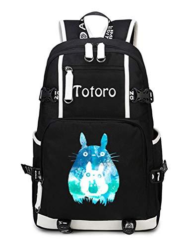 Cosstars My Neighbor Totoro Anime Backpack Schüler Schultasche Laptop Rucksäcke Freizeittasche Daypack Schwarz-2