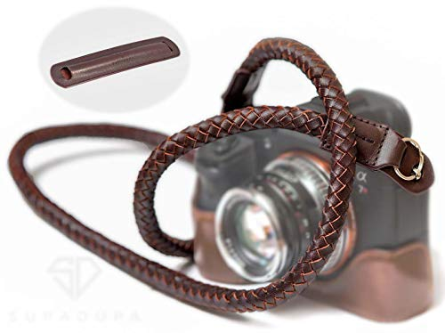 SupaDupa Leather Braided Camera Strap 47in Brown - for Neck Shoulder Wrist - Fits Most Mirrorless/DSLR Cameras + Free Soft Pad…