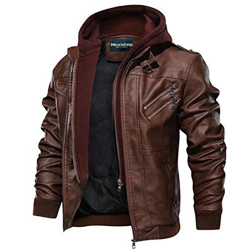 Hommes À Capuche PU Cuir Veste aviateur Moto Blousons avec Amovible Capuche Men Leather Hooded Jacket (Brown,Medium)