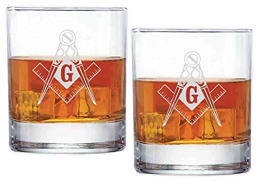 Personalized Freemason Masonic Set of 2 Double 11oz Old Fashioned Glasses Laser Engraved (2)