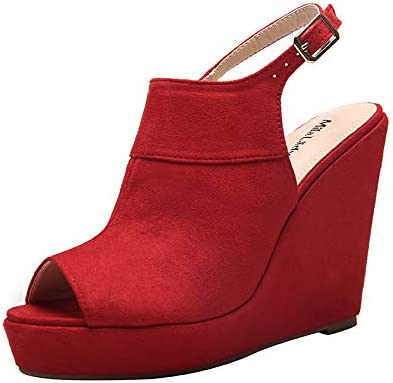 Mila Lady (LISA-11) Peep-Toe Ankle Bootie Open Toe Open Toe Platform Wedges Heeled Sandals