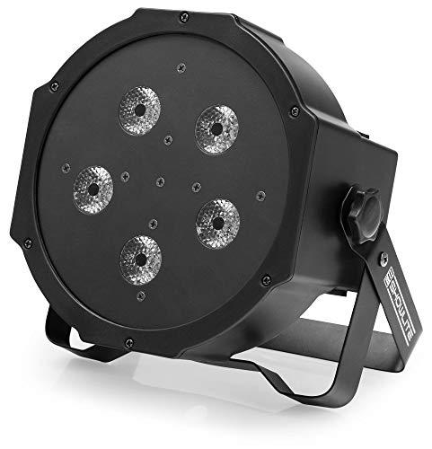 Showlite FLP-5x10W Flatline Panel LED PAR RGB (superheldere schijnwerper met 5 krachtige LED's, automatische en muziekbediening, stro- en dimfunctie, DMX-regelbaar, plat, klein en compact)