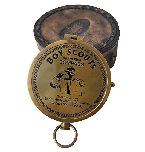 Dekor Mobilya American Boy Scout Compass Antique Vintage Brass Compass with Leather Carry Case Collectibles Navigation Compass