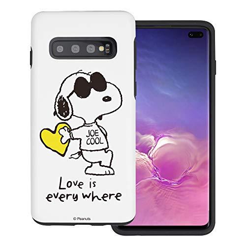 """Galaxy S10 ケース と互換性があります Peanuts Snoopy ピーナッツ スヌーピー ダブル バンパー ケース デュアルレイヤー 【 ギャラクシー S10 ケース (6.1"""") 】 (スヌーピー な愛 黄) [並行輸入品]"""