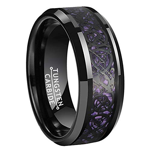 BestTungsten 8mm Black Tungsten Carbide Rings for Men Women Wedding Bands Celtic Dragon Purple Carbon Fiber Inlay Beveled Edges Polished Comfort Fit