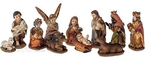 matches21 HOME & HOBBY Großes Krippenfiguren Set 11-TLG. Figuren für Krippen Weihnachtskrippen Stall etc. Kunststoff bunt bemalt 2-3 cm groß