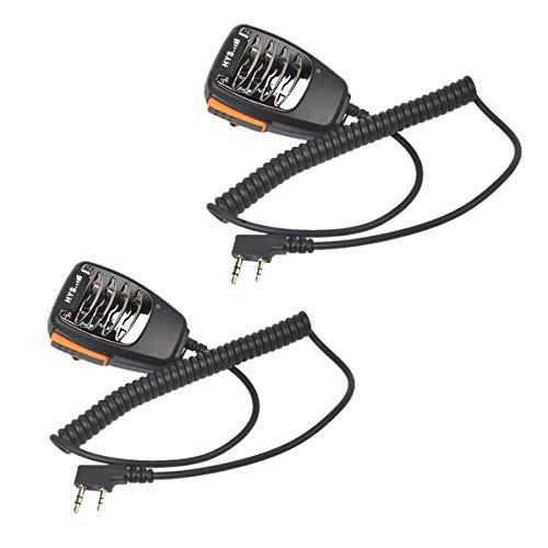 HYS Altavoz de mano remoto micrófono de 3,5 mm para auriculares Jack Hombro Compatible con 2 pines Walkie Talkie Baofeng Kenwood WOUXUN (paquete de 2)