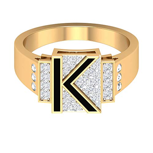 Benutzerdefinierte Trauringe, K Initial Letter Ring, Alphabet Ring, HI-SI 0,44 CT Diamantringe, Schwarzer Emaille Ring, Paar Versprechen Ringe, Jubiläumsringe, 14K Gelbes Gold, Size:EU 49