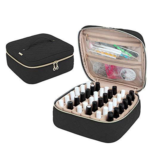 Yarwo Nagellack Aufbewahrungstasche für 36 Flaschen Nagellack (bis zu 15ml), Kosmetiktasche für Nagellack Organizer, Nagellack Tasche zum Transport und zur Aufbewahrung, Schwarz