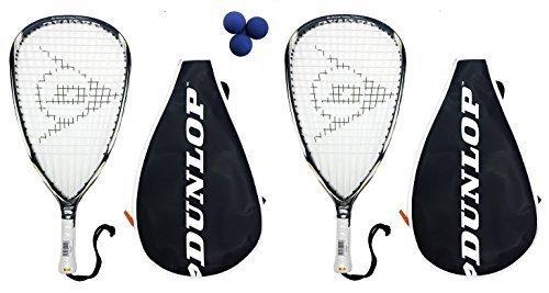Dunlop Blackstorm Titanium Racquetball-Schläger, 2 Schläger und 3Bälle