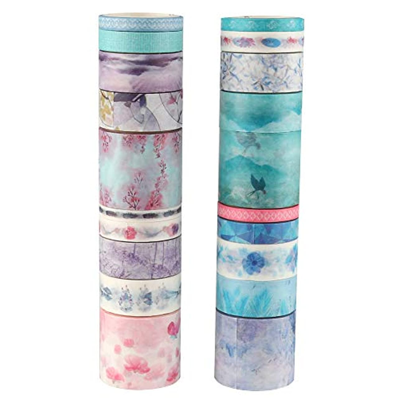 Molshine 20Rolls(Length 6.6ft/Roll) Washi Masking Tape Set,Adhesive Paper,Crafts Tape for DIY,Planners,Scrapbook,Object Decorative,Collection,Gift Wrapping-The Years of Flowers