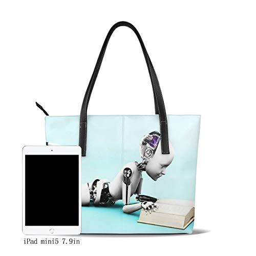 OMNVEQ Bolso De Mano Grande para Mujer Máquina Robot Niño Acostado Piso Tote Bag Shopper Cuero De La PU Bolso De Hombro Gran Capacidad Bolso De Compras Asa Larga