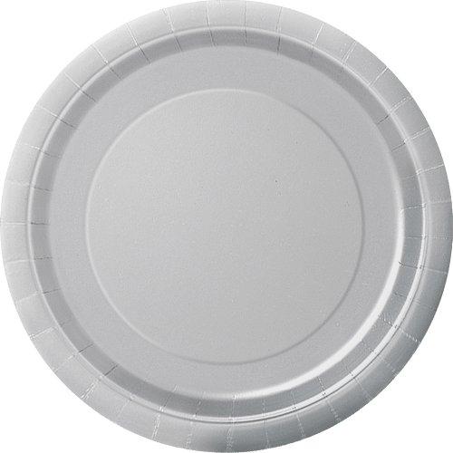 Unique Party - Platos de Papel - 17.1 cm - Plata - Paquete de 20 (33444)